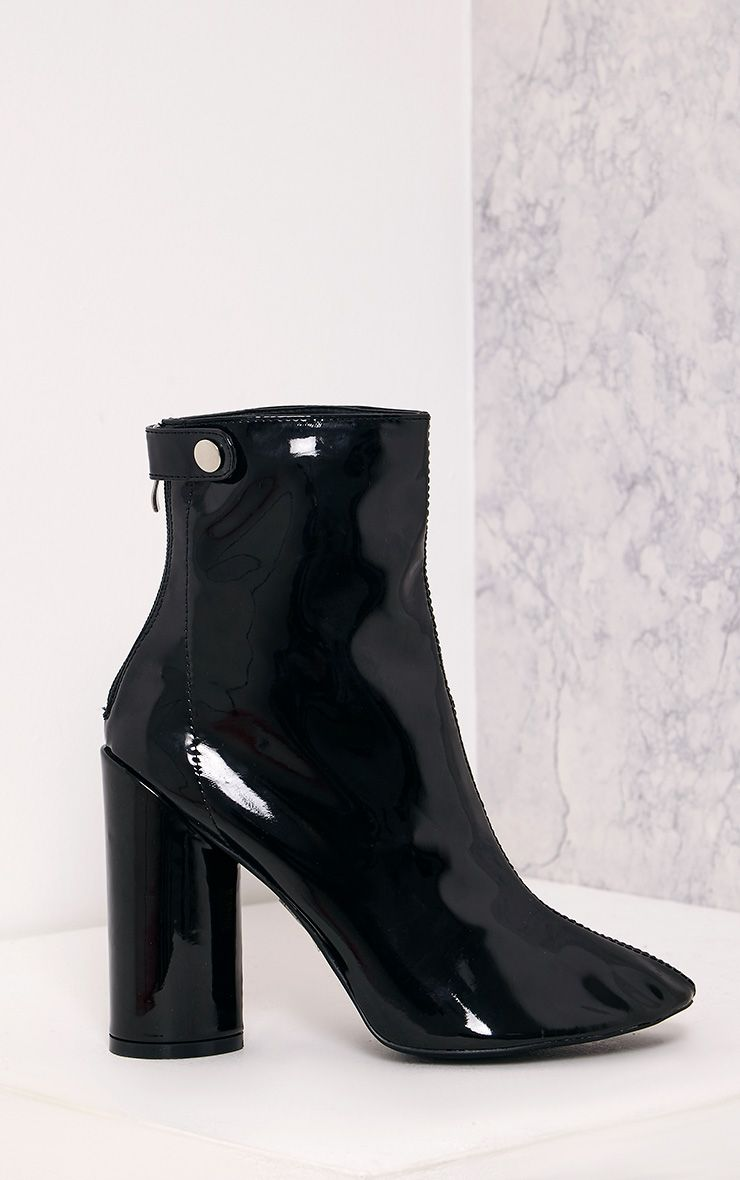 Amie Black Patent Heeled Ankle Boots