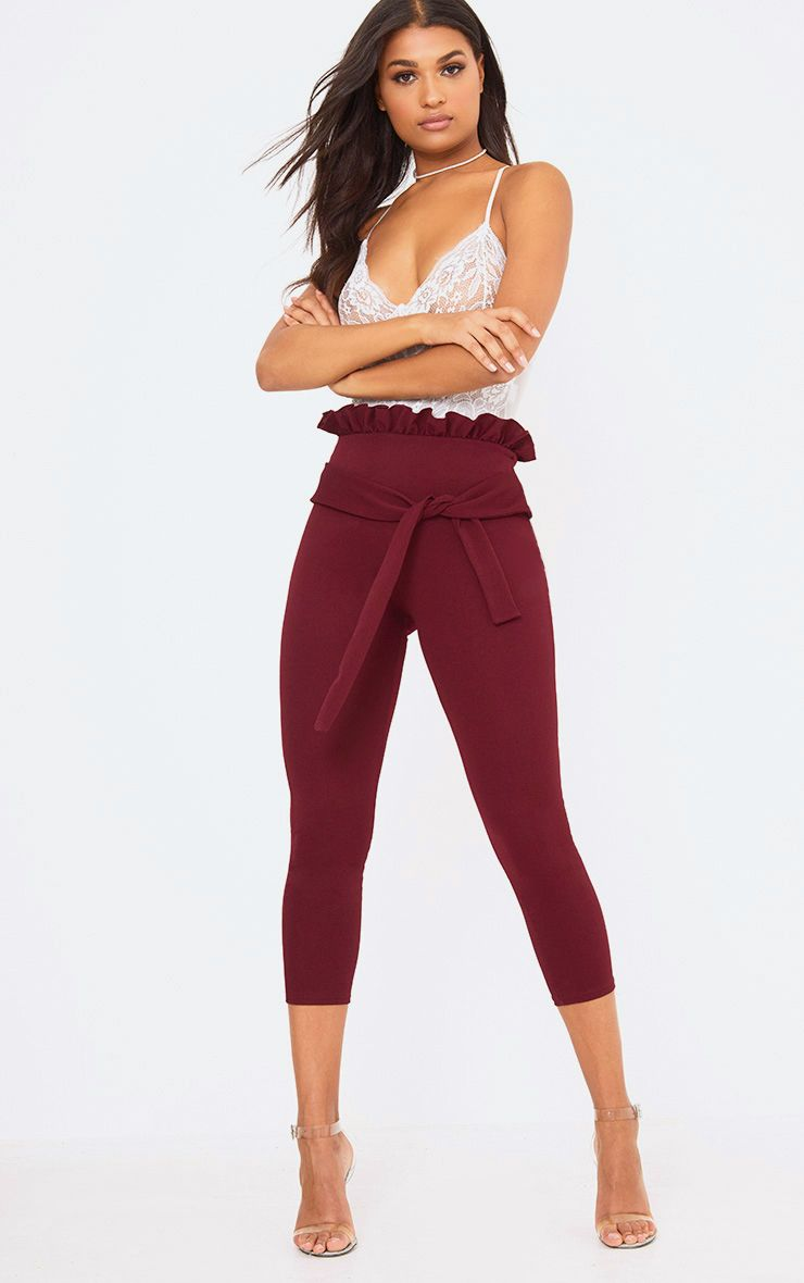 Burgundy Paperbag Skinny Trousers
