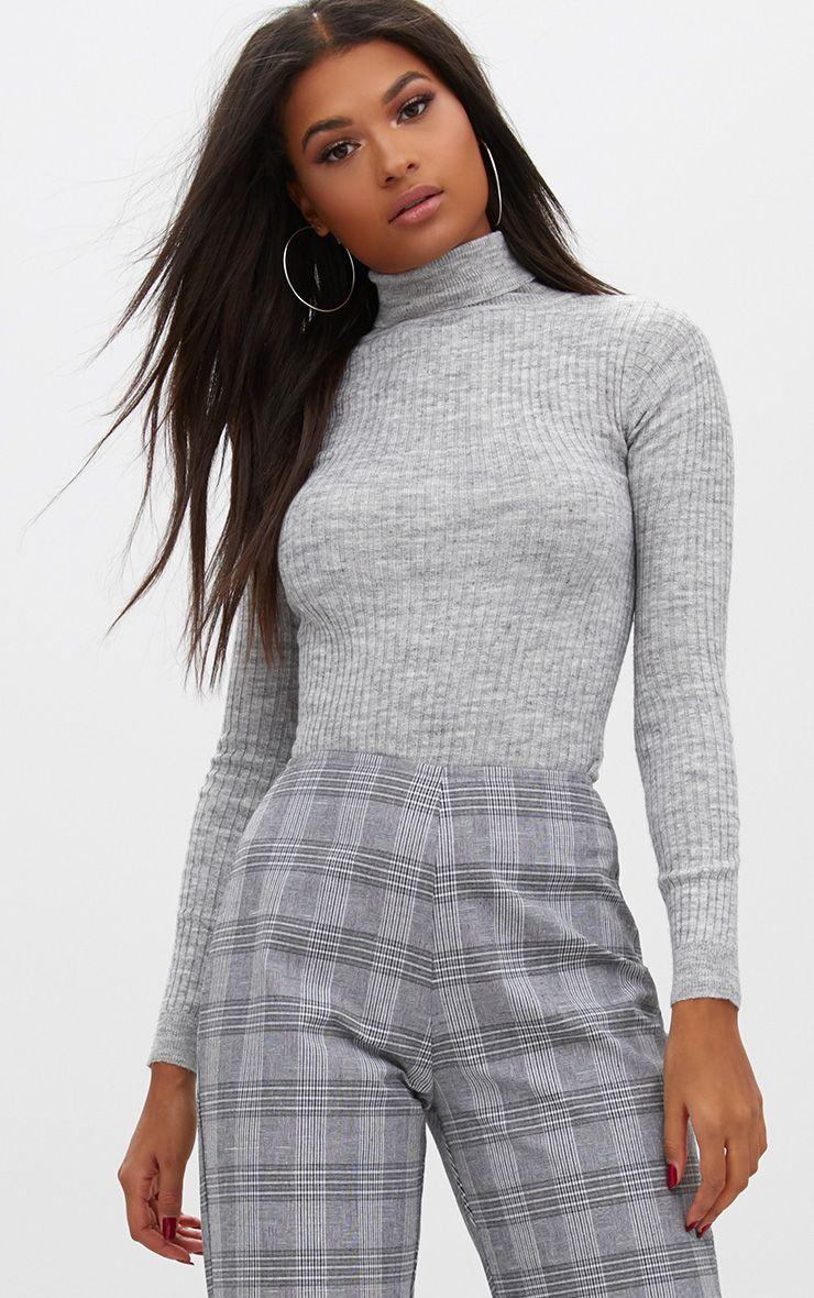 Grey Fine Knit Rib Roll Neck Jumper