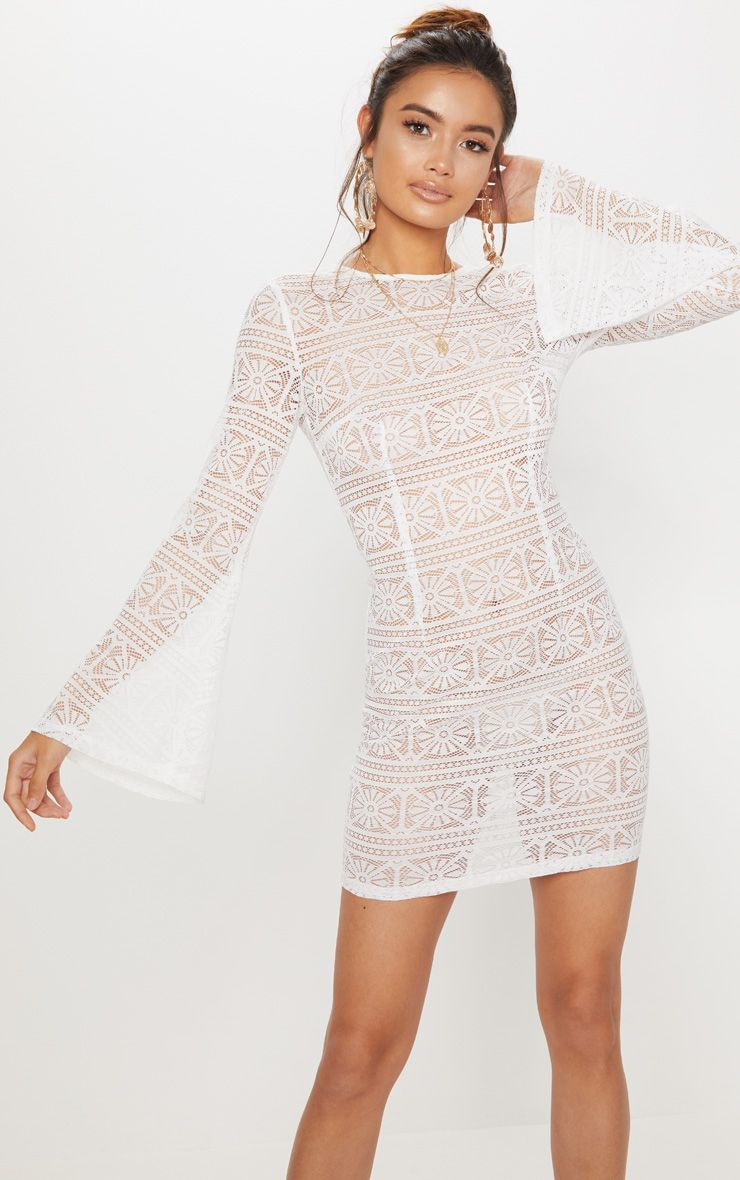 White Tie Back Lace Bodycon Dress Pretty Little Thing Discount Aaa Rcw4Inby