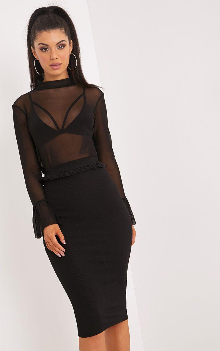 Kaiya Black Frill Waist Rib Midi Skirt