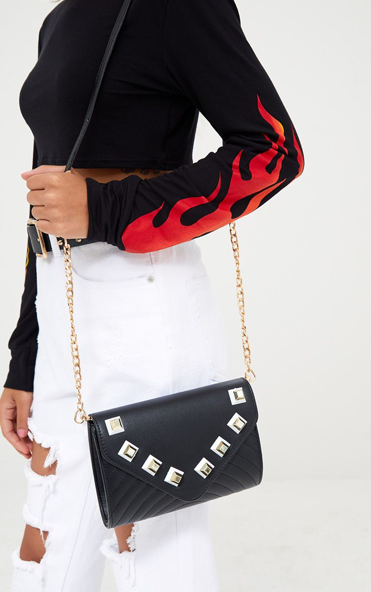 Black Chunky Studded Shoulder Bag