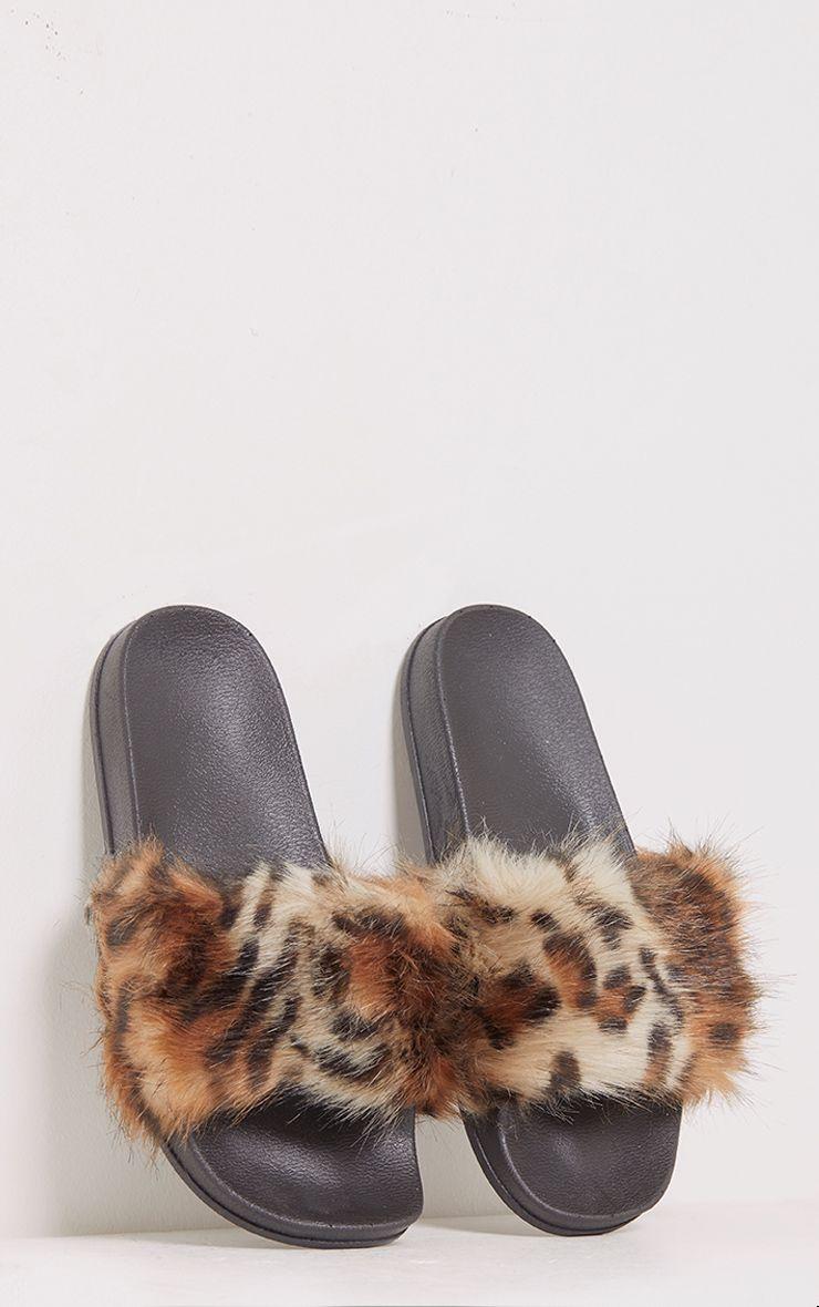 Emeline Beige Leopard Fluffy Sliders