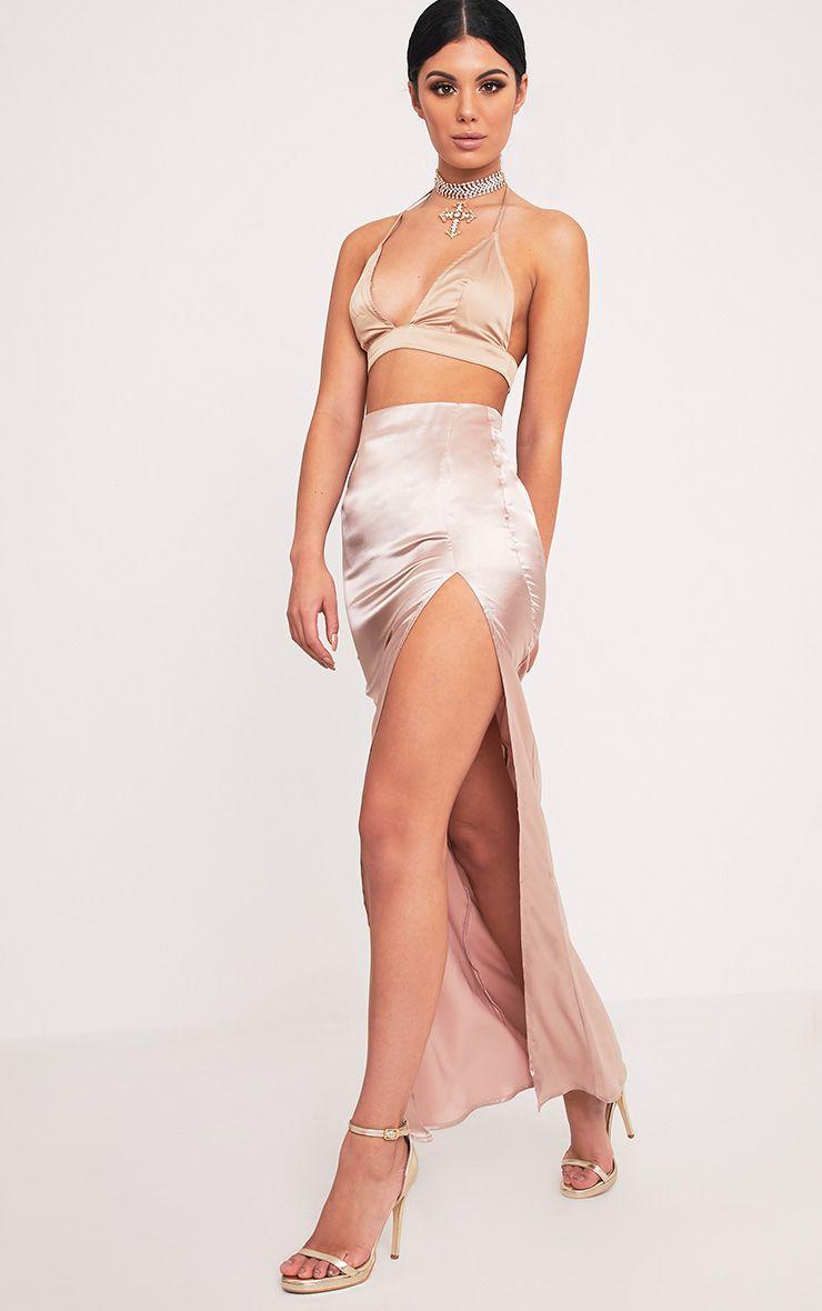 Harleigh Nude Satin Split Maxi Skirt