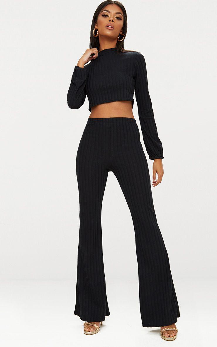 Black Rib Knit Wide Leg Co Ord Set