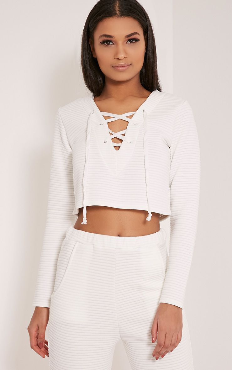 Rowena White Premium Ribbed Lace Up Sweatshirt 1