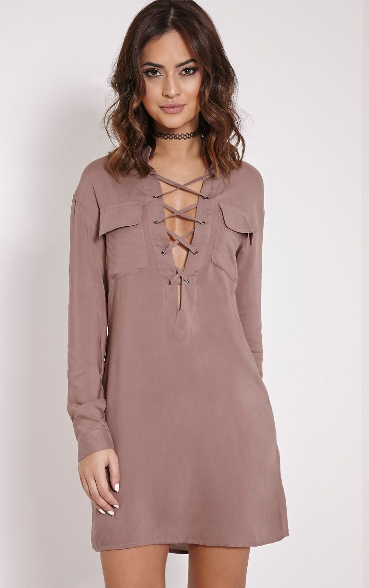 Jovi Mocha Oversized Lace Up Utility Shirt Dress 1