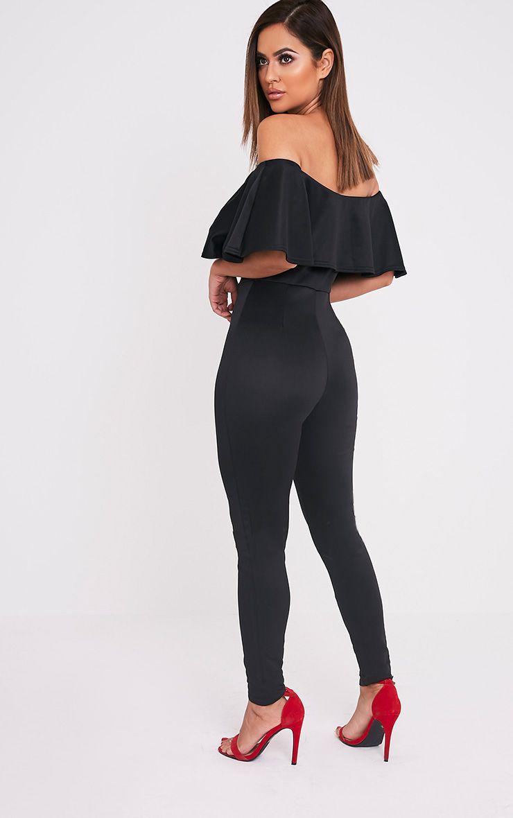 Lilliana Black Bardot Frill Scuba Jumpsuit
