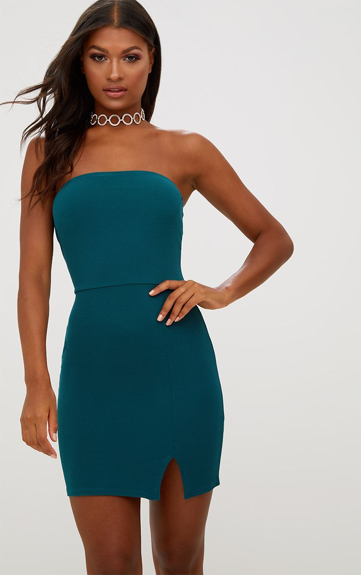 Green Split Detail Bandeau Bodycon Dress