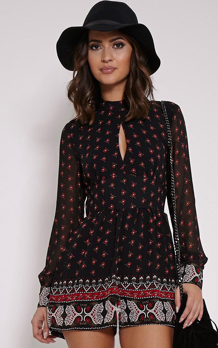 Gabe Black Printed Chiffon Playsuit 1
