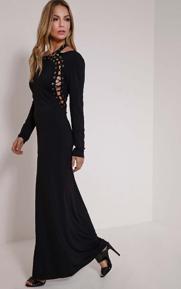 Aryanna Black Asymmetric Lace Up Maxi Dress