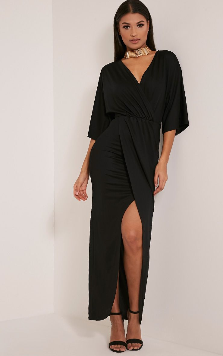 Archer Black Cape Maxi Dress