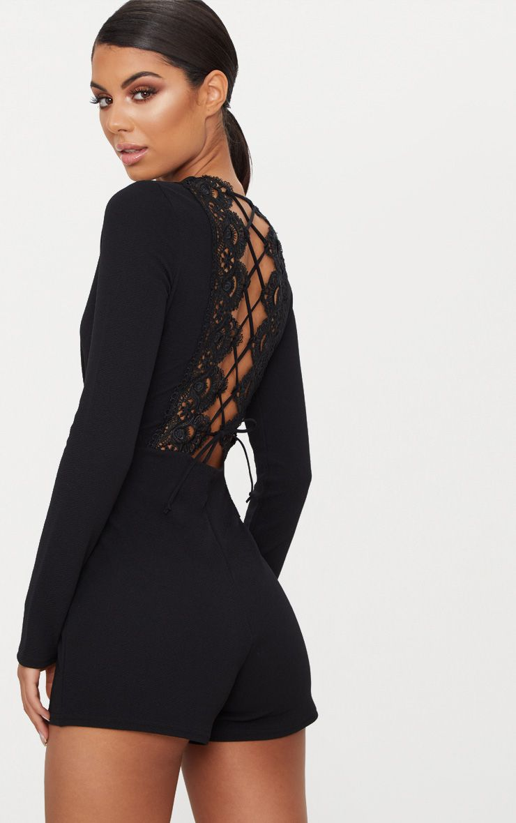 Black Lace Up Back Detail Playsuit