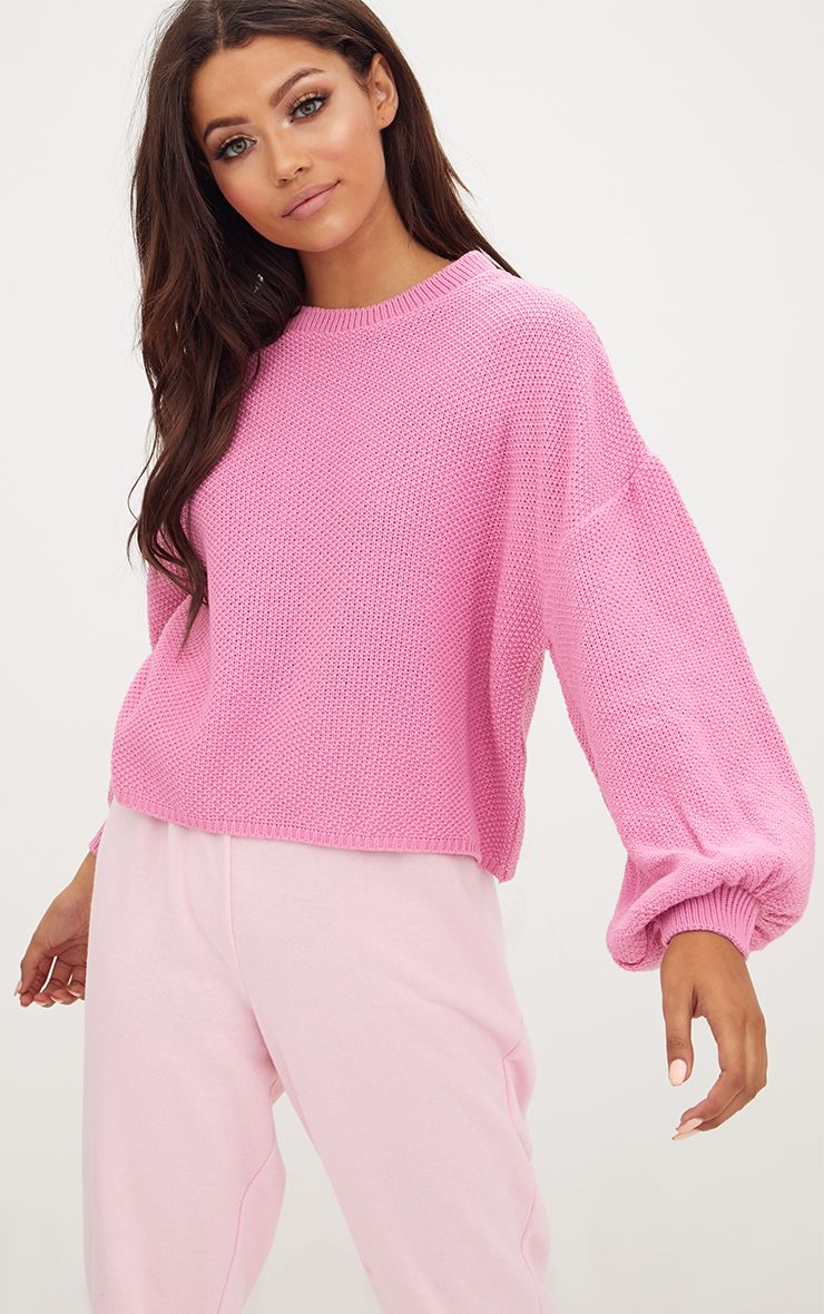 Bright Pink Balloon Sleeve Knitted Jumper