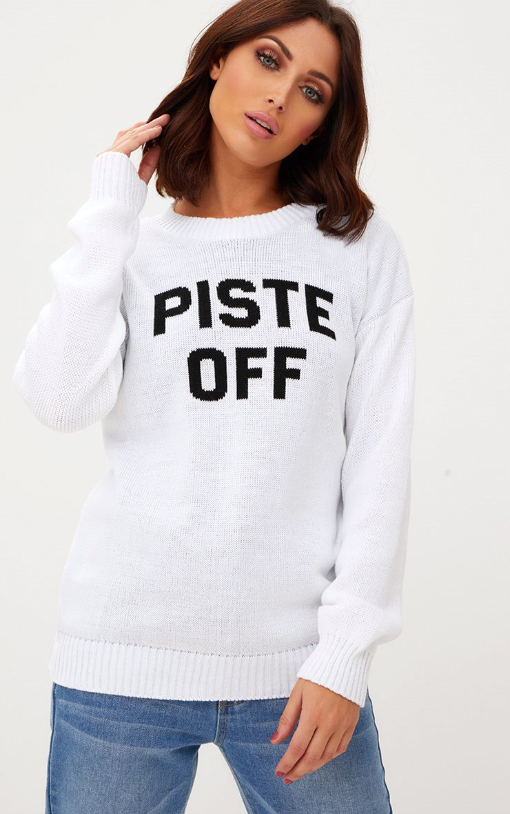 White Piste Off Christmas Jumper