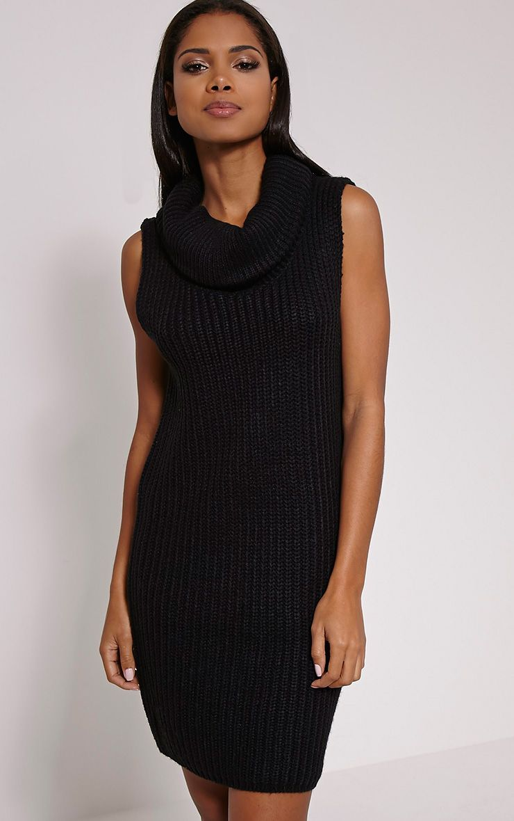Jossy Black Knitted Roll Neck Dress 1