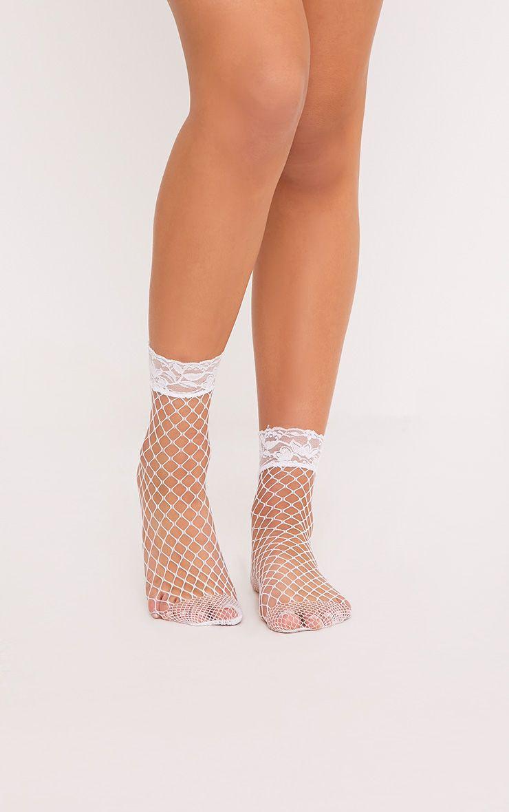 Fiola White Lace Top Fishnet Socks