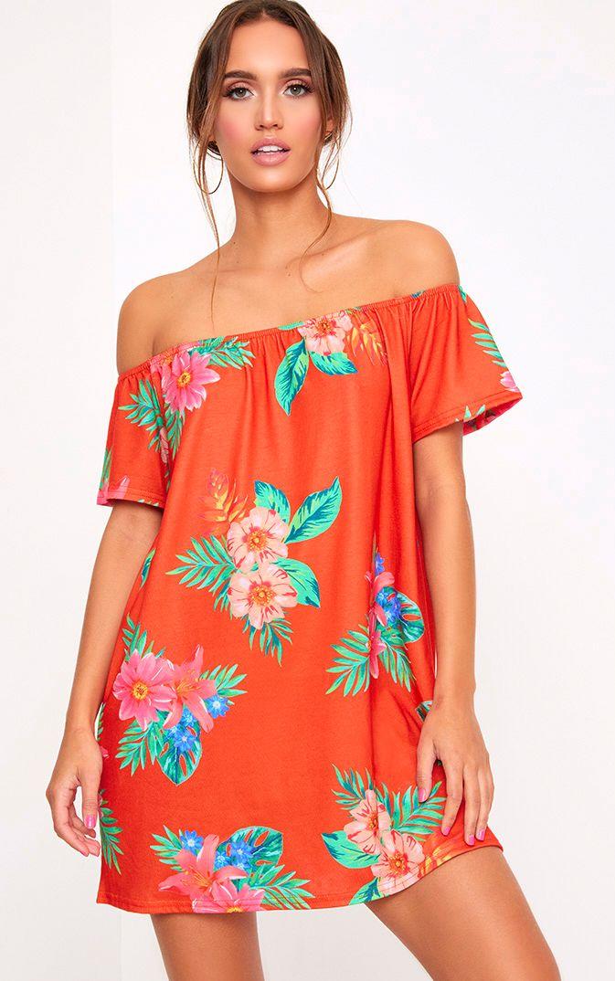Red Floral Print Bardot Shift Dress