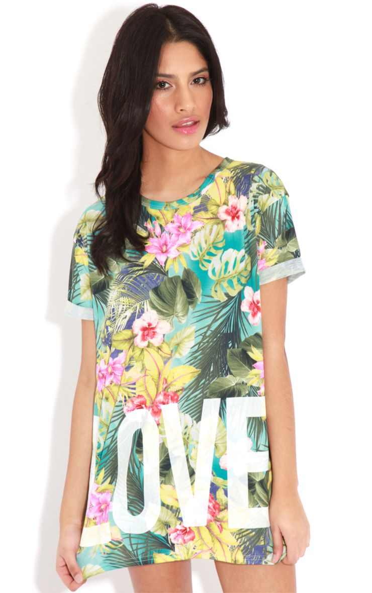 Makayla Turquoise Floral Love Life Sports Tee 1