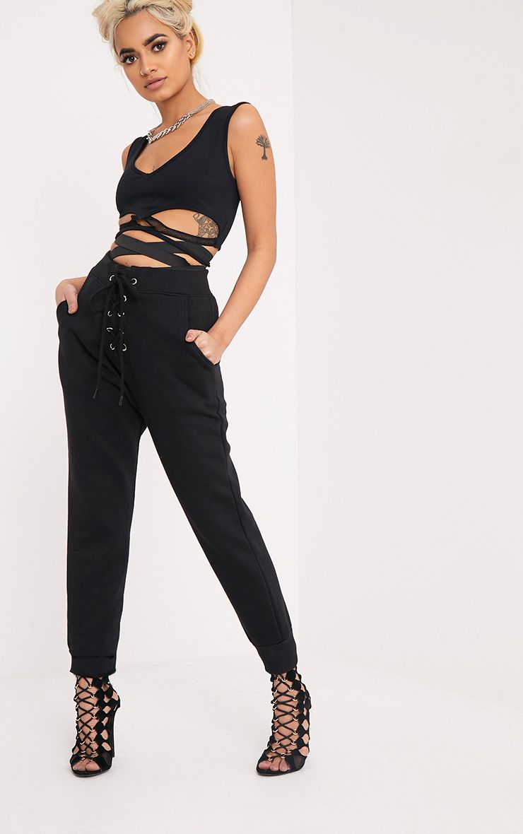 Rochella Black Lace Up Joggers