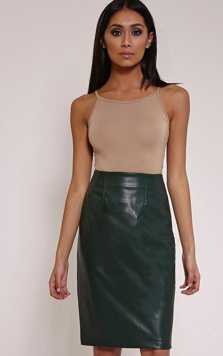 Clarissa Bottle Green Faux Leather Midi Skirt 1