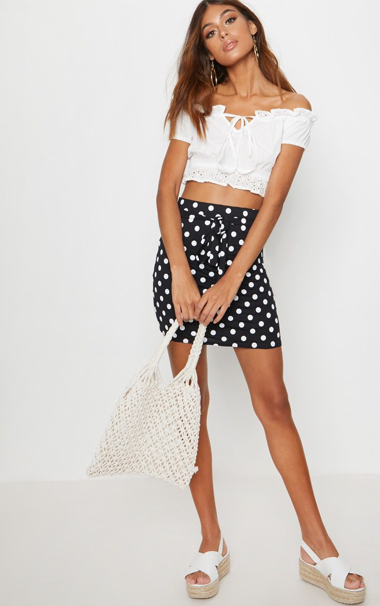Black Jersey Polkadot Asymmetric Skirt 1