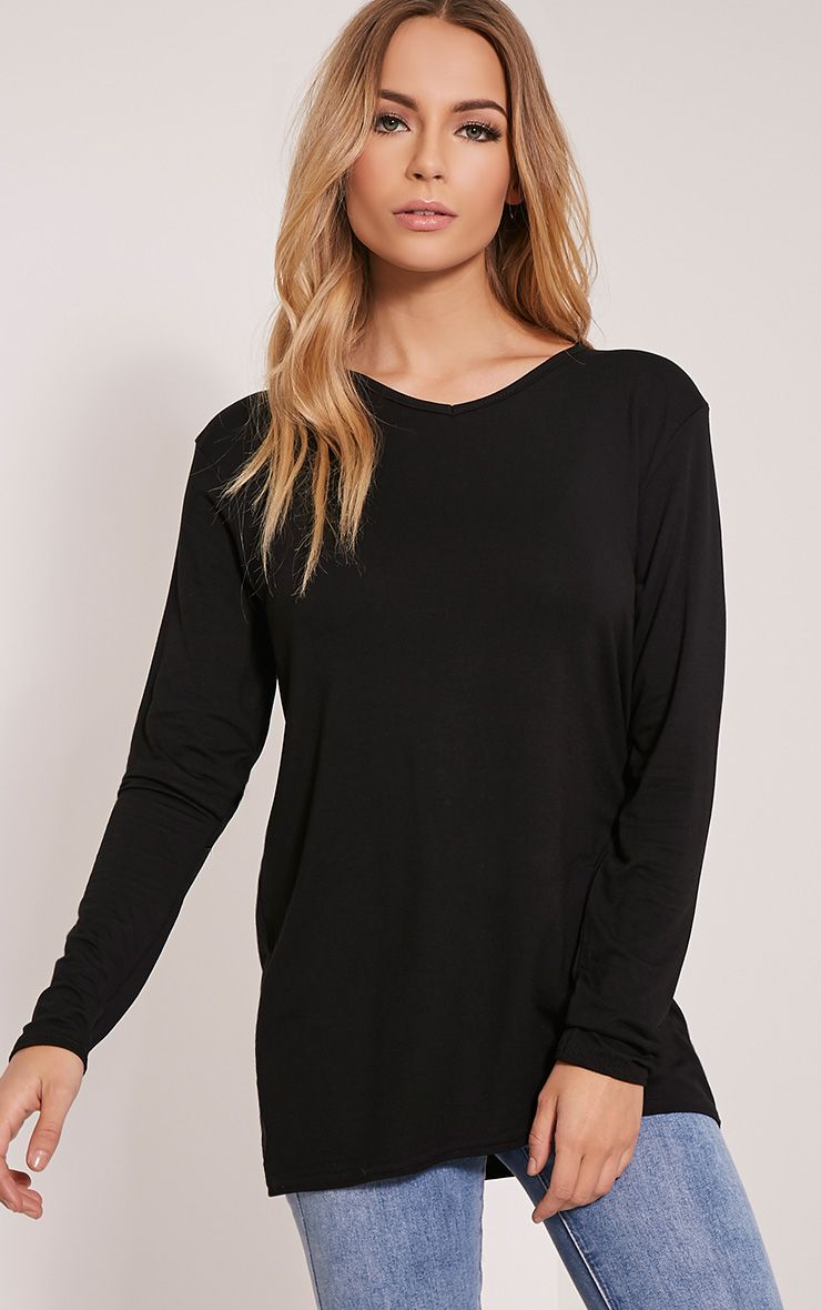 Basic Black V Neck Boyfriend Top 1