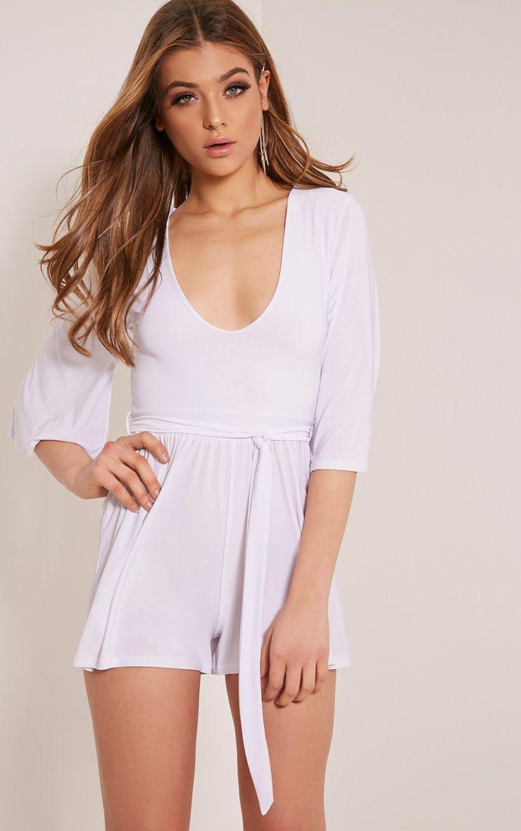Sharnah White Kimono Sleeve Plunge Playsuit