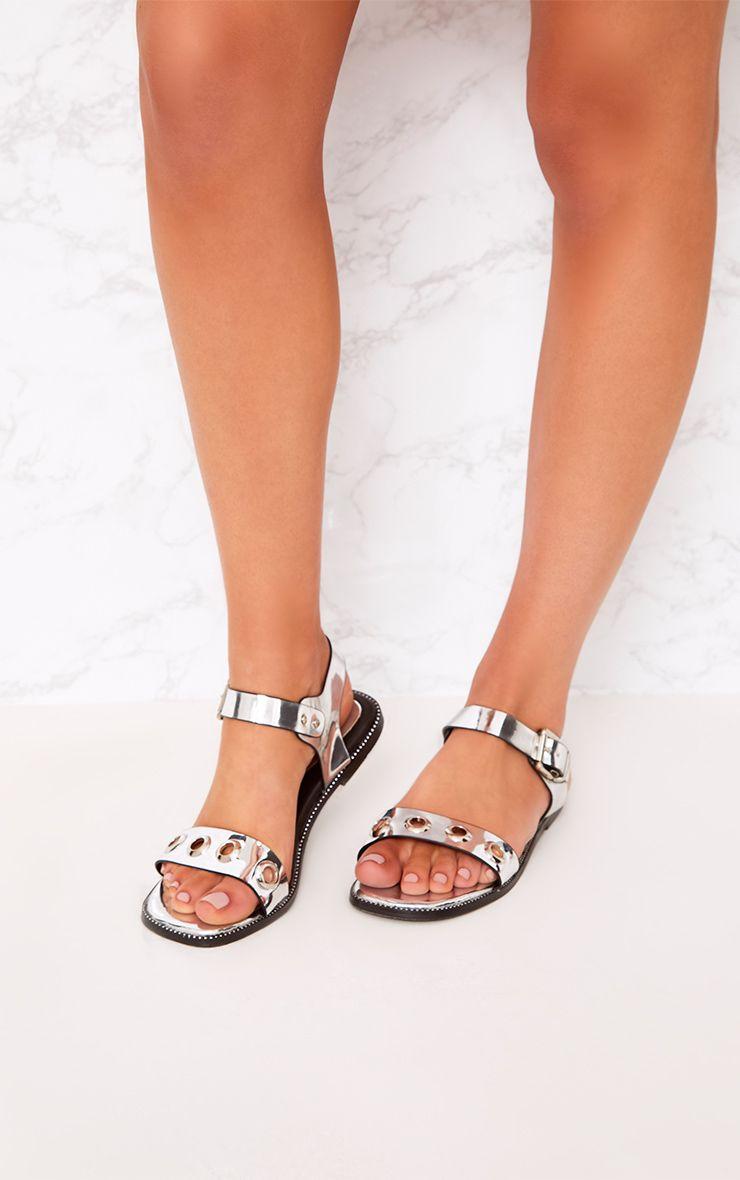Marlene Silver Metallic Eyelet Sandals