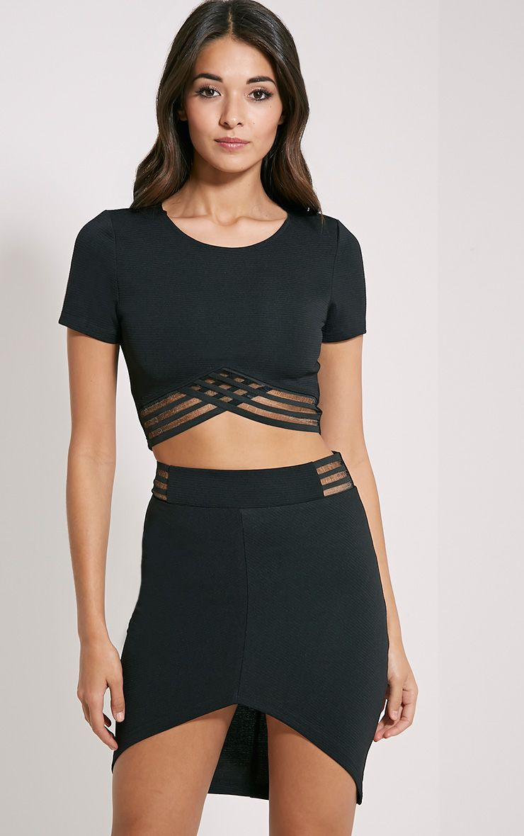 Yeni Black Wrap Hem Skirt 1