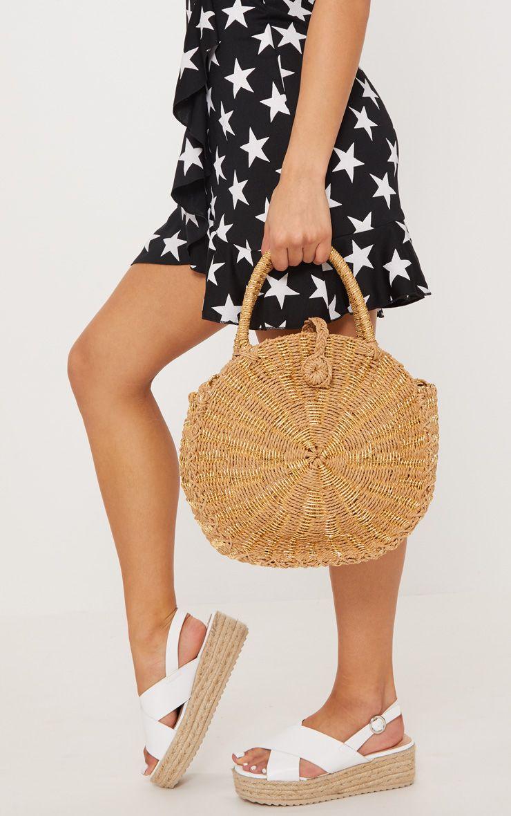 Gold Straw Round Cross body Bag