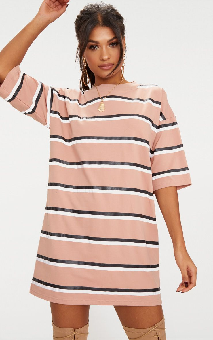 Camel Striped Oversized Boyfriend T Shirt Dress