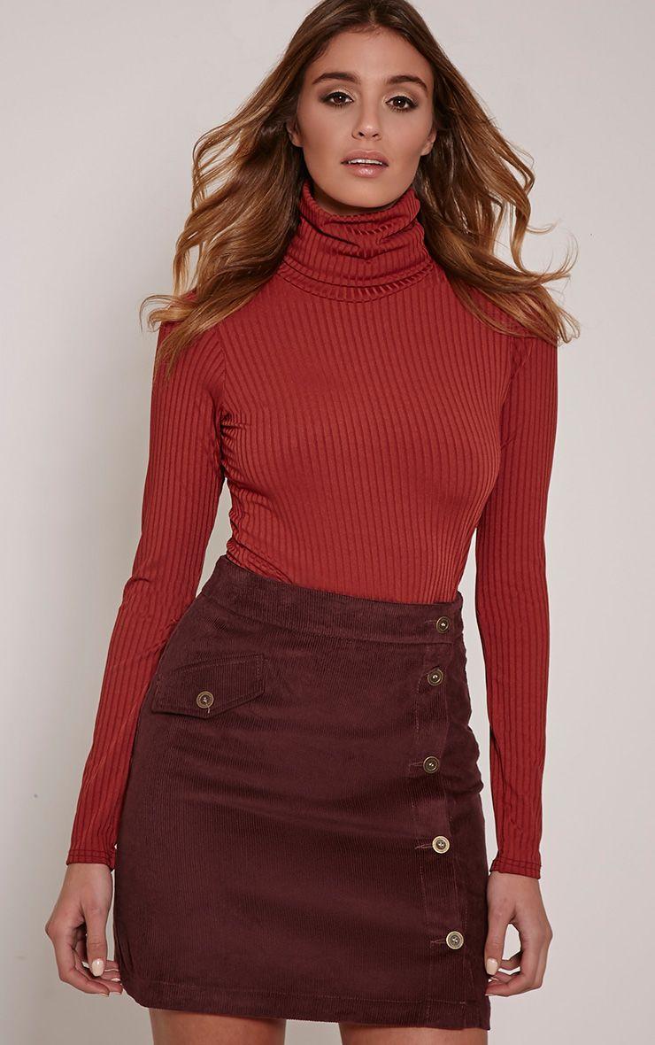 Orea Plum Side Button Cord Mini Skirt 1