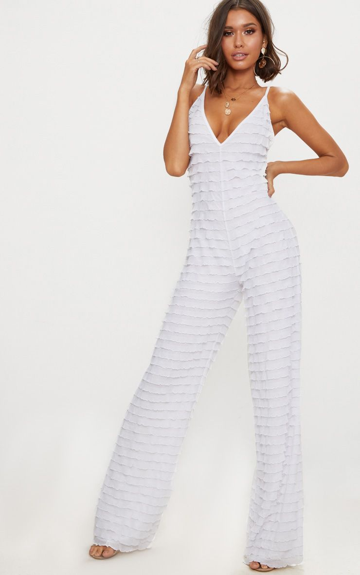 White Frill Strappy Plunge Jumpsuit
