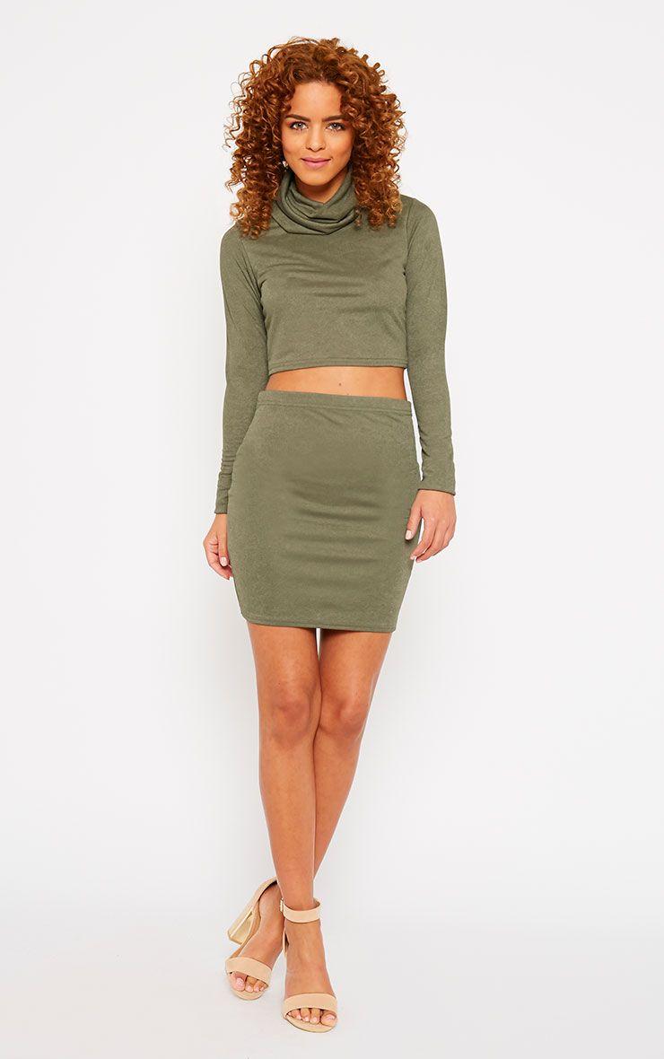 Emilia Khaki Crepe Mini Skirt 1
