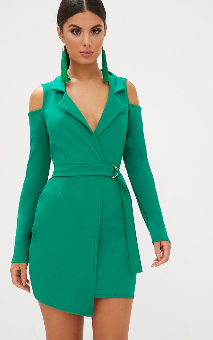 Bright Green Cold Shoulder Blazer Dress