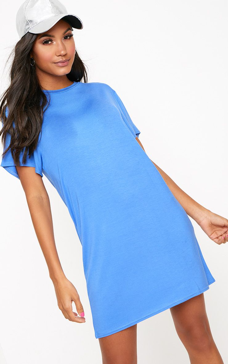 Basic Blue Short Sleeve T Shirt Dress