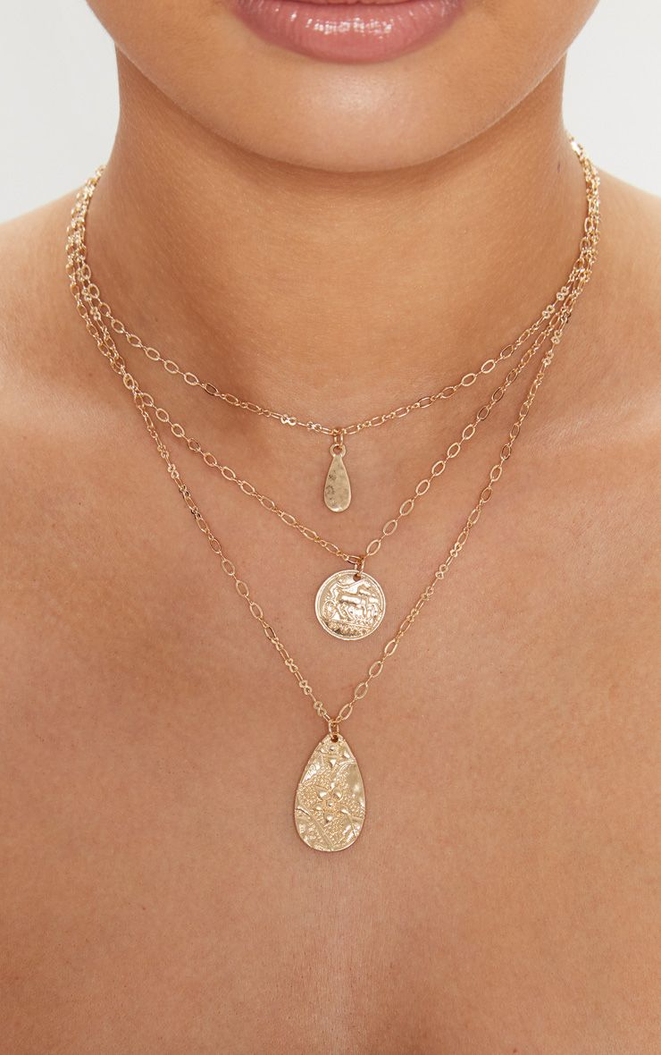 Gold Coin Tear Drop Triple Layer Pendant