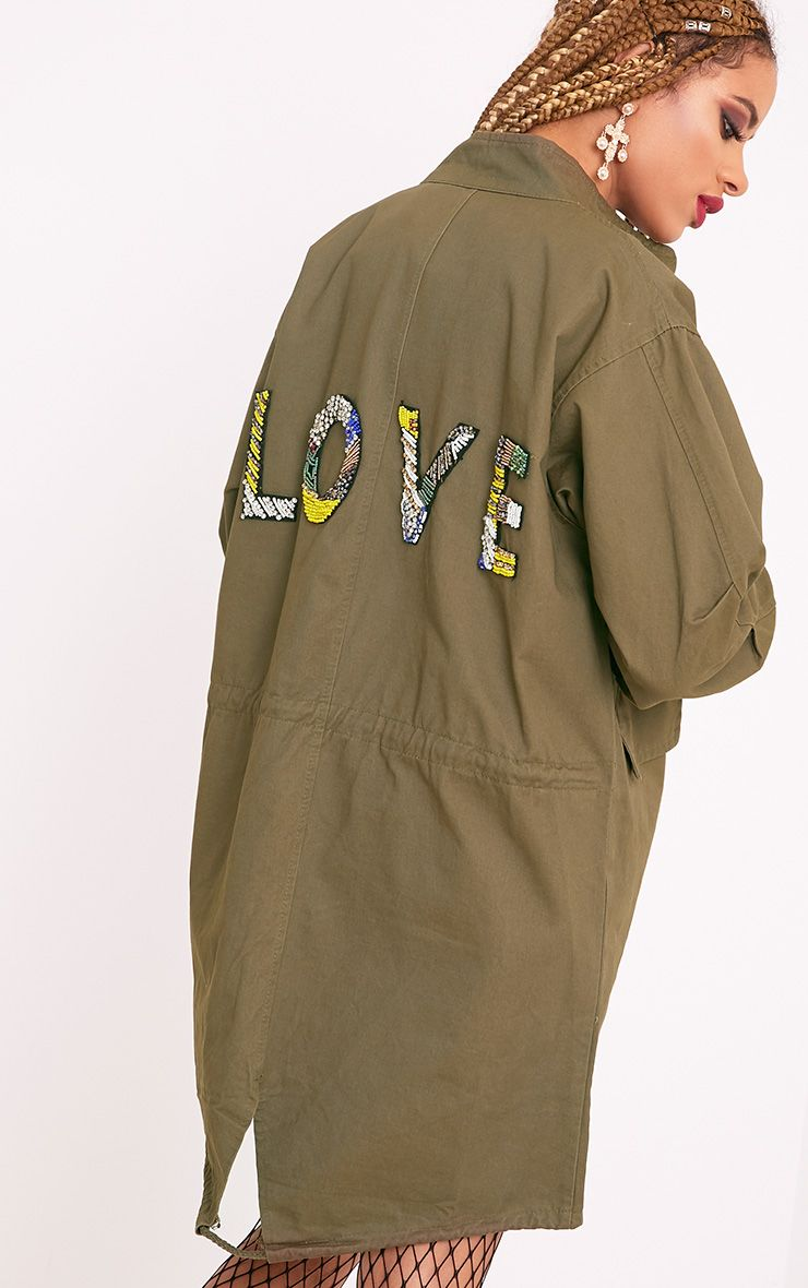 Alesea Khaki Love Slogan Jacket
