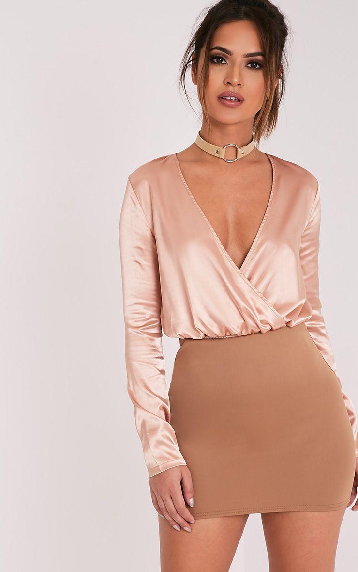 Milah Camel Scuba Mini Skirt
