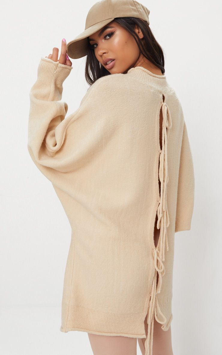 Cream Lace Up Back Oversized Knitted Jumper