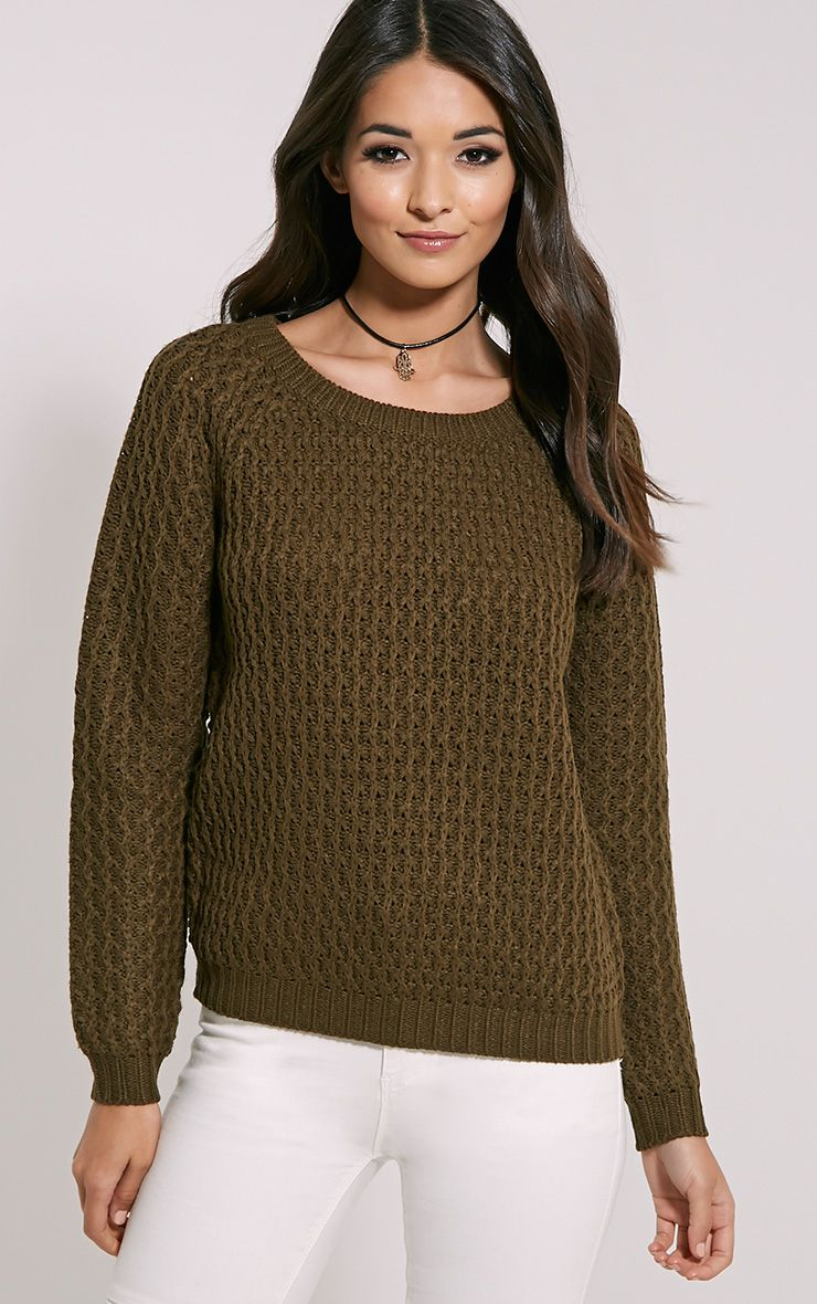 Jaylin Khaki Cable Knit Jumper 1