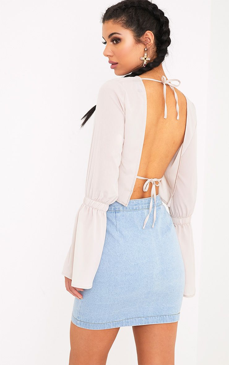 Skye Stone Backless Flared Sleeve Blouse  1