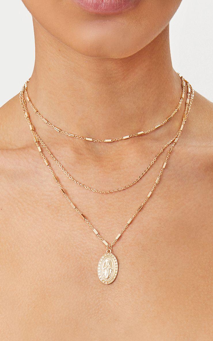 Gold Triple Layer Delicate Chain Pendant Necklace