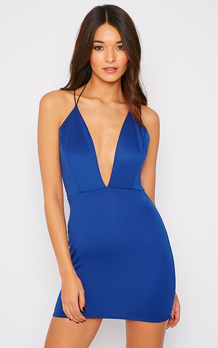Gisele Cobalt Plunge Dress  1