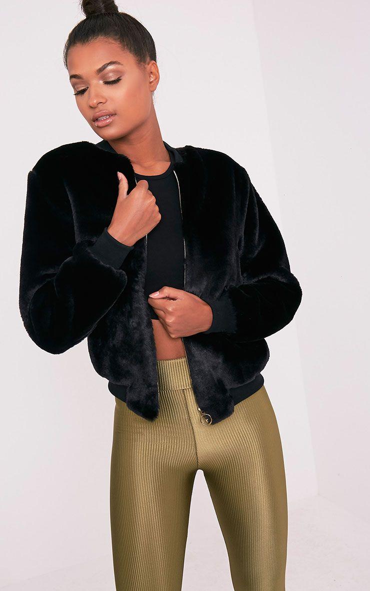 Jessenia Black Soft Faux Fur Bomber Jacket
