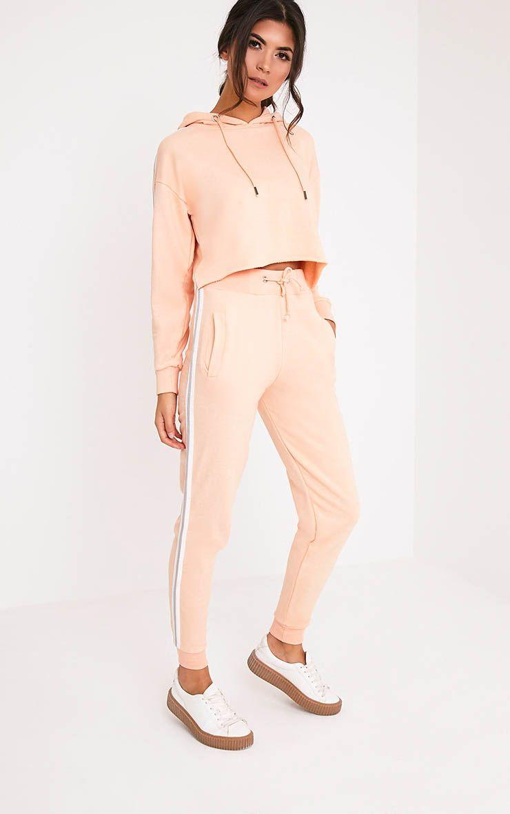 Gwen jogging couleur chair à rayures latérales