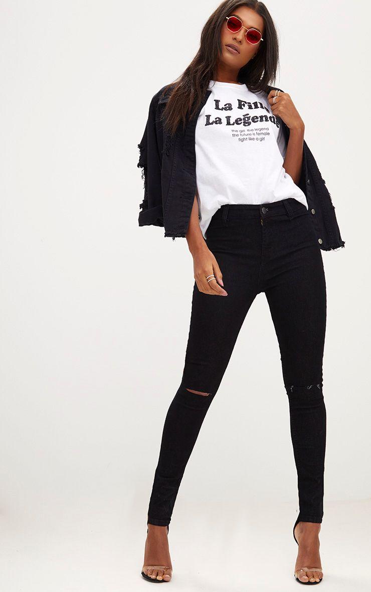 Black Knee Rip Disco Skinny Jean 1