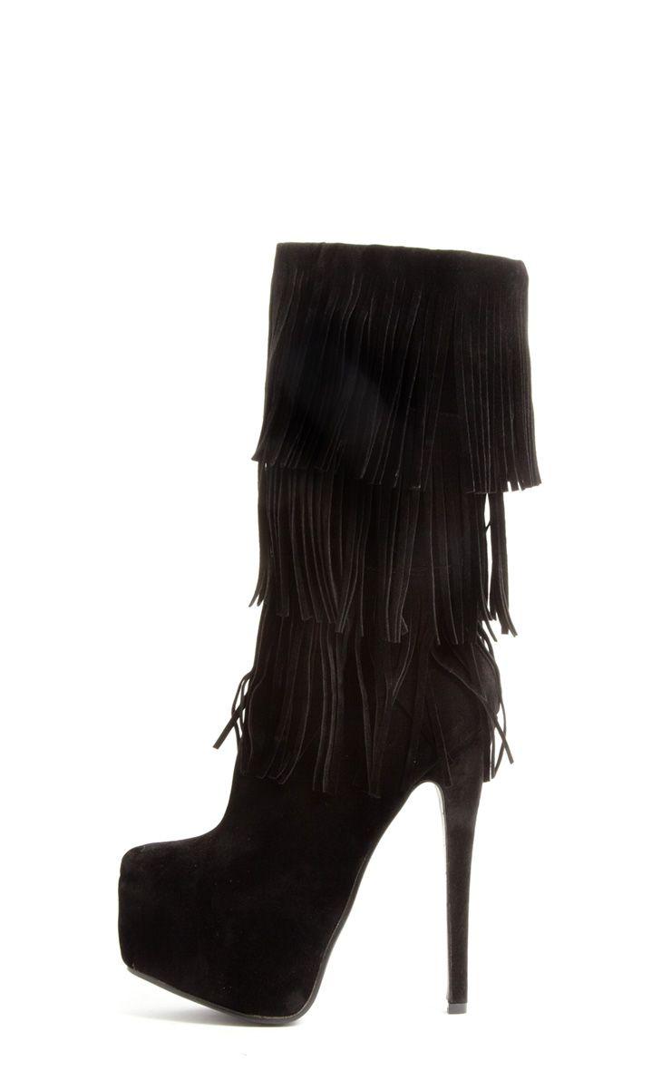 Cierra Mid Leg SuedetteTassel Boots Black