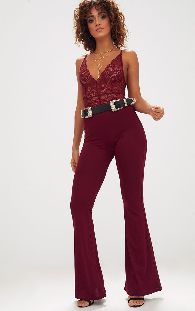 Maroon Ultimate Flared Trousers